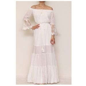 White Off Shoulder Lace Boho Maxi Dress